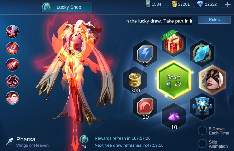 Mobie Legends Skin Lucky Spin Pharsa
