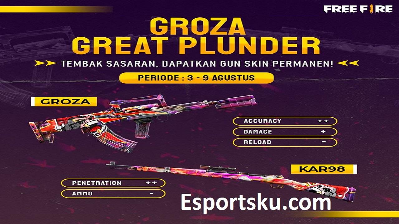 Cara Mendapatkan Skin Groza Great Plunder Ff Di Event Free Fire Esportsku