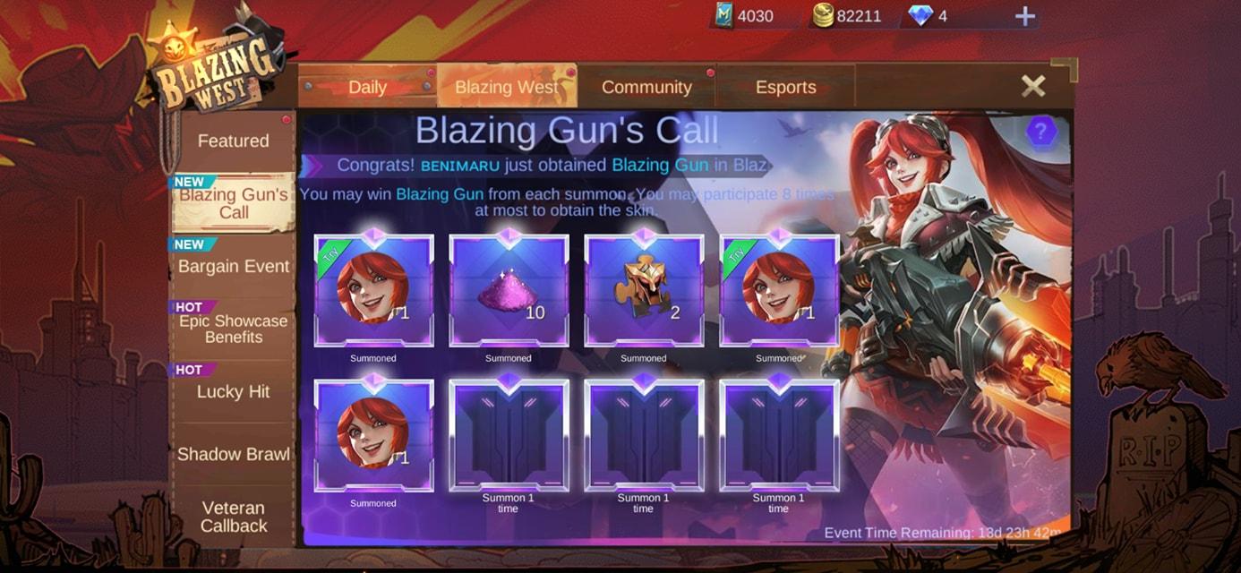 Consejos para el evento Draw Blazing Gun Call en Mobile Legends (ML)