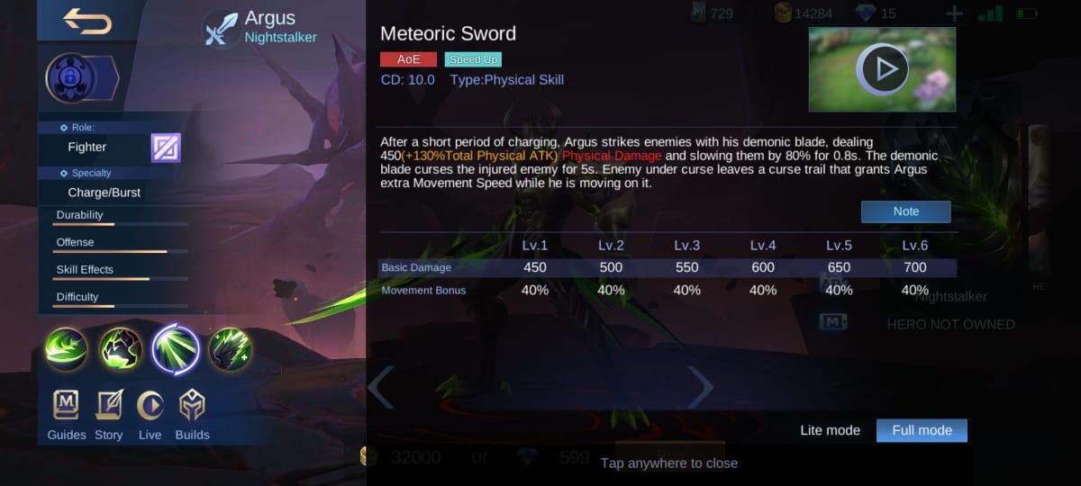 Explicación de la habilidad Argus Mobile Legends (ML)