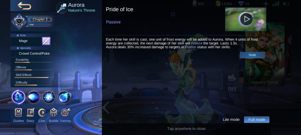 Explicación de la habilidad Aurora Mobile Legends (ML)