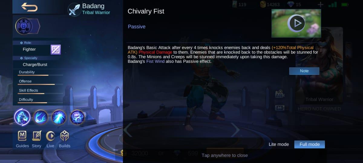 Explicación de la habilidad Badang Mobile Legends