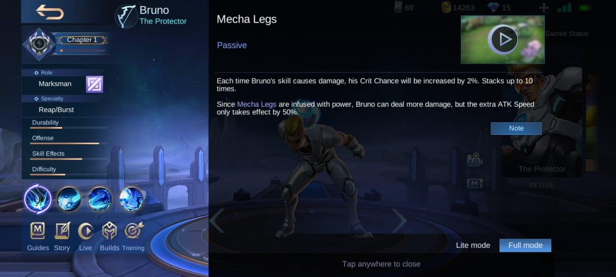 Explicación de la habilidad de Bruno en Mobile Legends (ML)