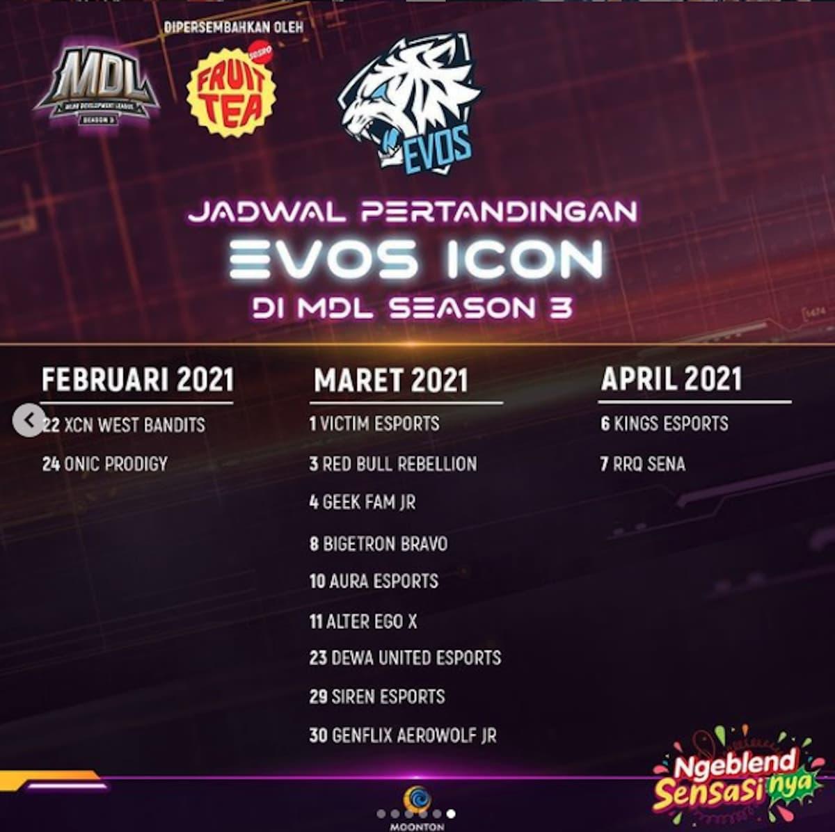 EVOS Icon MDL ID Season 3 Mobile Legends (ML) Schedule